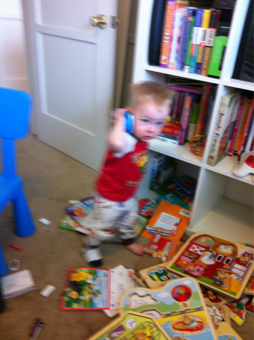 He totally walked into the office having a conversation on his Fisher Price smartphone today.