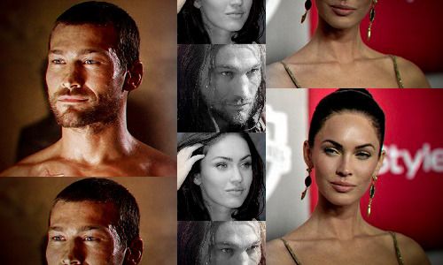 Spartacus: Genderswap  ◆ Megan Fox as Spartacus ((Some of these are better quality than others. All I had was MS Paint and Lightroom to work with. I picked Megan Fox for Spartacus because of her bright blue eyes, distinctly similar eyebrow shape, dark hair, and cat-like features. Her face is a little long, and her lips a little too full to be a perfect match but I couldn't find anyone else I liked better. Those eyebrows just did it for me!))
