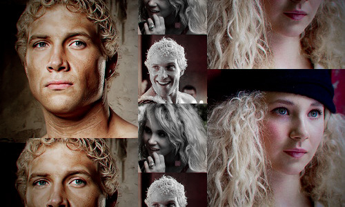 Spartacus: Genderswap  ◆ Juno Temple as Varro ((Some of these are better quality than others. All I had was MS Paint and Lightroom to work with. I picked Juno for Varro because of those big, gorgeous blonde curls, adorable blue eyes, similar egg shaped faces, and matching noses. Juno is a bit too young for my liking. In real life she's only four years off from Jai so I figured I could excuse it based on that alone. She's such a great match in every other way.))