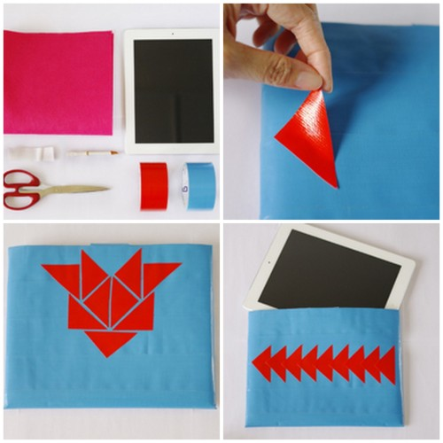 "DIY Duct Tape iPad Cover. This is made out of felt covered in duct tape (you can use the brand ""duck tape"" here, that comes in tons of patterns), and you can rearrange the duct tape pattern on top. Incredibly detailed tutorial ie goof proof by craftbits here."