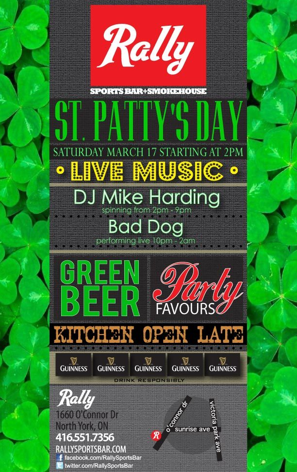 Join us St. Patty's Day, Saturday March 17th!