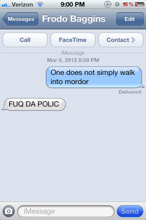 Just a typical convo between frodo and boromir
