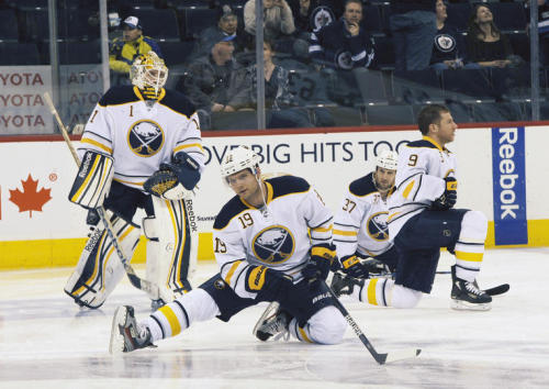 A herd of Sabres stretching