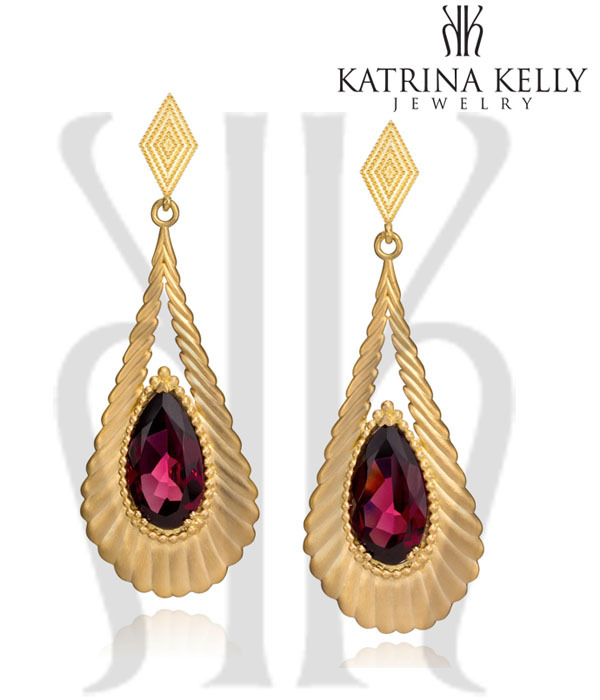 Vintage Vine Earrings with Pink Tourmalines by Katrina Kelly