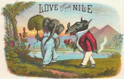 Love on the Nile- strange vintage postcard | (via howtodraw.com)
