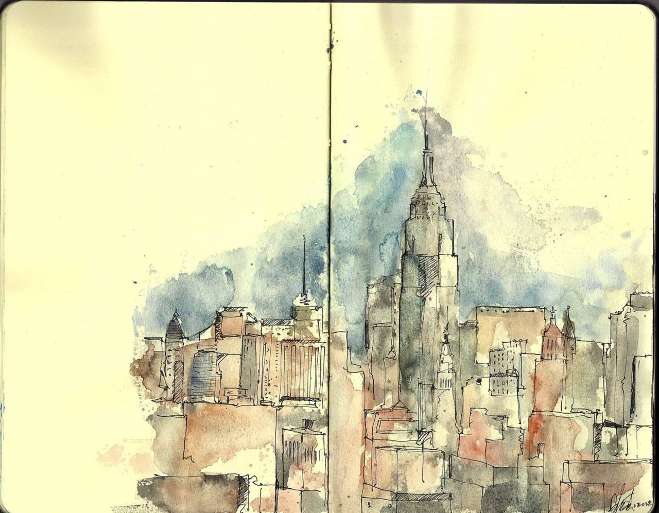 "brainplataform:  ""New york landscape sketch with pen and watercolor"""