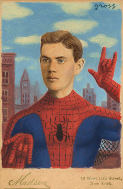"fyeahsuperheroes:  ""Peter"" -Alex Gross  i like how it totally reminds me of a baseball card from the 1920s"