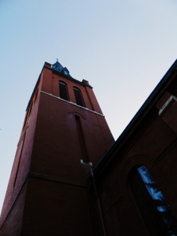 Dramatic shot of the church I walk by everyday to go to school…