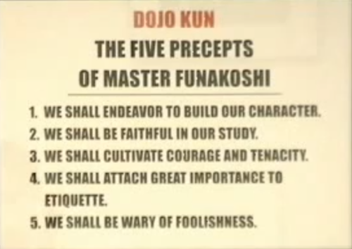 The Dojo Kun lays the rules for karate-ka to abide by. But are the principles of the Dojo Kun unique to karate? I wrote a post pondering this subject : karatenisentenashi.tumblr.com/post/17225882283/