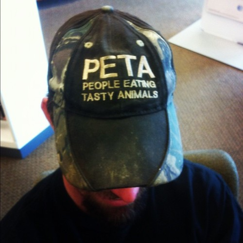 …and then there's this. #ispy #baseball #hat #camo #peta #eatinganimals (Taken with instagram)
