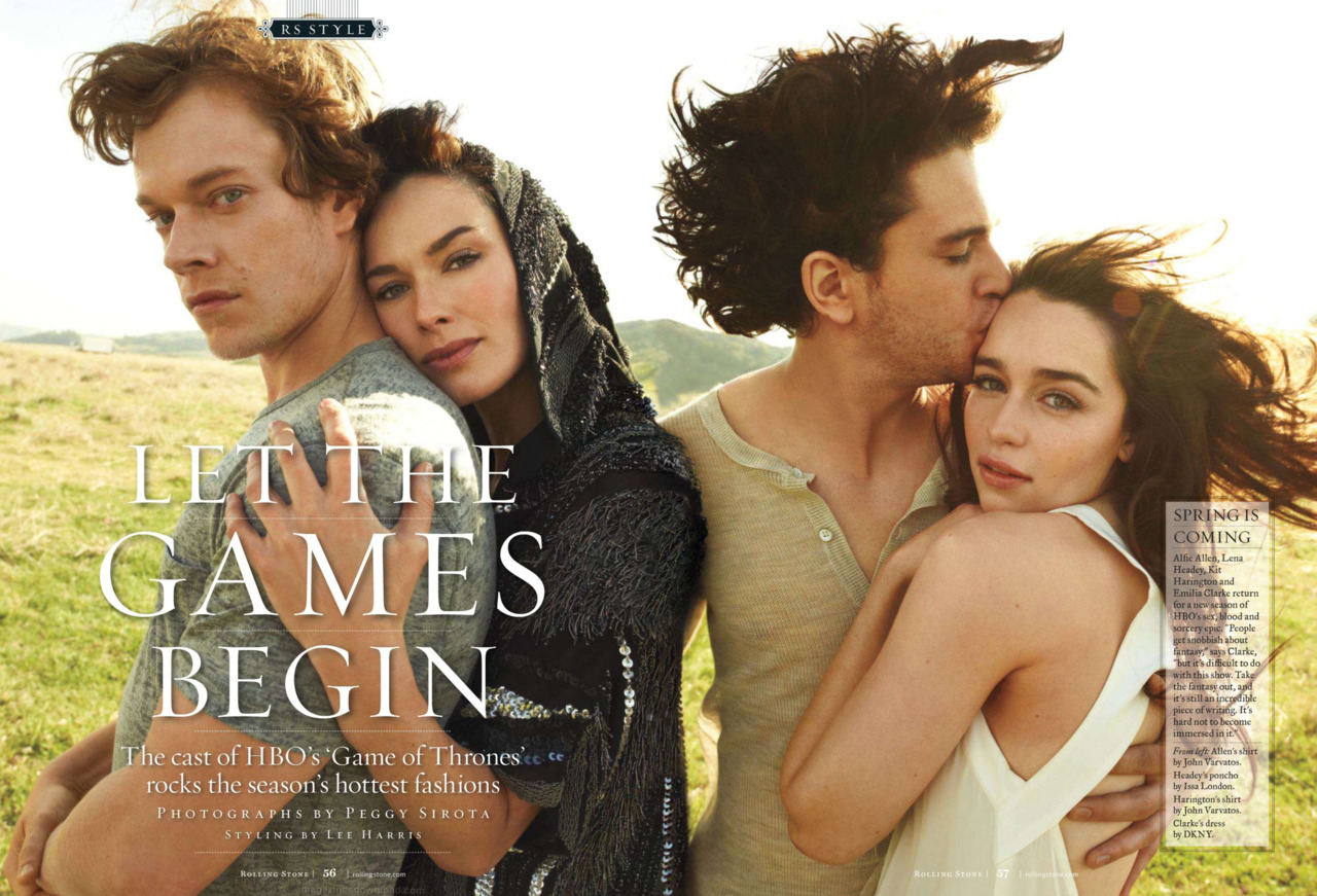Alfie Allen, Lena Headey, Kit Harington and Emilia Clarke photographed by Peggy Sirota for Rolling Stone, March 15th, 2012