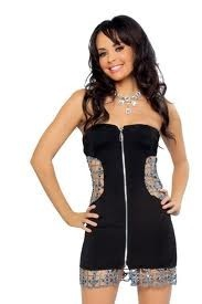 Black Zip Up Tube Dress with Cutout Detail ($65.95)