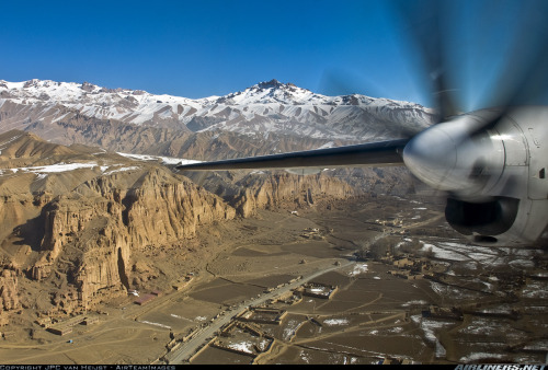 Fokker 50 through the Bamiyan Valley, Afghanistan.