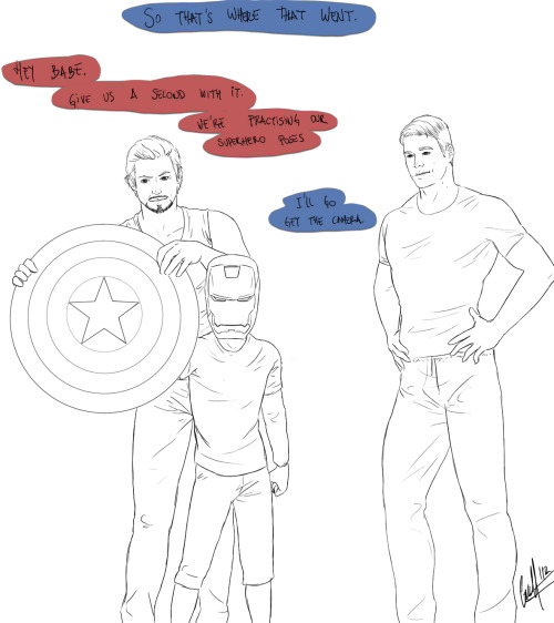 selfmadesuperhero:    wholmesandwhatson said: Tony's helmet and Steve's shield are missing DUN DUN DUN guess who is using those two items to practice hero poses in front of the mirror? (Tony of course,is eager to help and practice with Peter,while Steve just stands there, watching them fondly)  Cutest prompt ever.