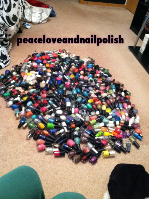 peaceloveandnailpolish:  So I decided to organize my polishes (for the millionth time)…and this happened. Here it is ladies: my beloved stash ;) over 400 polishes, I don't even wanna know how much $ I've spent :|