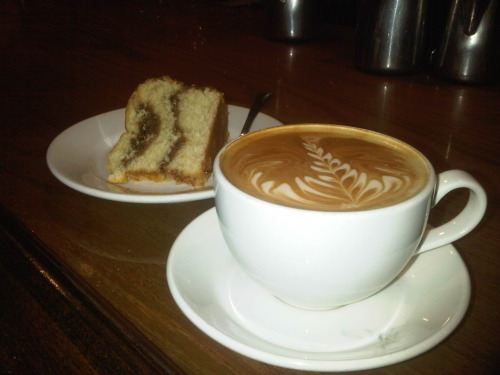 theoperachick:  Slow Train- dirty chai and coffee cake after a long day.