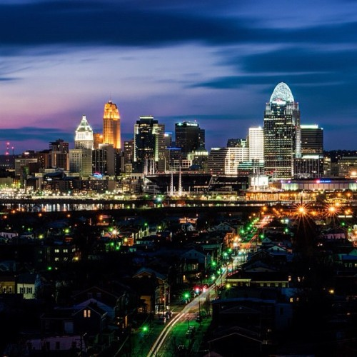 Skyline at Dusk #cincinnati #cincy #downtown #dusk #sunset #skyline #cincinnatiskyline #ohio #instagram #nikon #picofday #photoofday  #instagramaday #popular #popularpage #igers #instagrammer #instagramhub #iphonography #iphoneography #igersohio #igerscincinnati #followgram #statigram #webstagram #iphonology #city #queencity #cityscape (Taken with instagram)