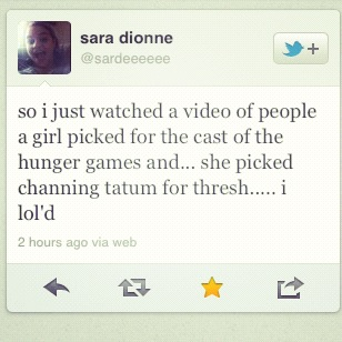 "Nothing wrong with Sara's tweet. I posted sara's tweet because it mentions something that I noticed a lot myself while on YouTube. There are about a million different ""casting"" videos on YouTube for the Hunger Games. A lot of them don't bother to cast Thresh. The few that do either cast him as Channing Tatum or Victor Krum (sp?) from Harry Potter: Goblet of Fire. Channing Tatum: Suggests that they either didn't read or just whitewashed Thresh for funVictor Krum: Suggests that their colour spectrum has no concept of what ""dark brown skin"" means As for Rue, it was the same thing.Almost all of the suggestions for Rue were either… Jodelle Ferland Ariel Winter Madison Pettis Bailee Madison Notice the trend here?  Dark haired ""non black"" girls. (Madison being somewhat of an exception) The next time you see someone, whether in person or online, say that they ""missed Rue's description"", point at them and yell LIAR.  They saw the description alright.  They just removed a certain element of the description."