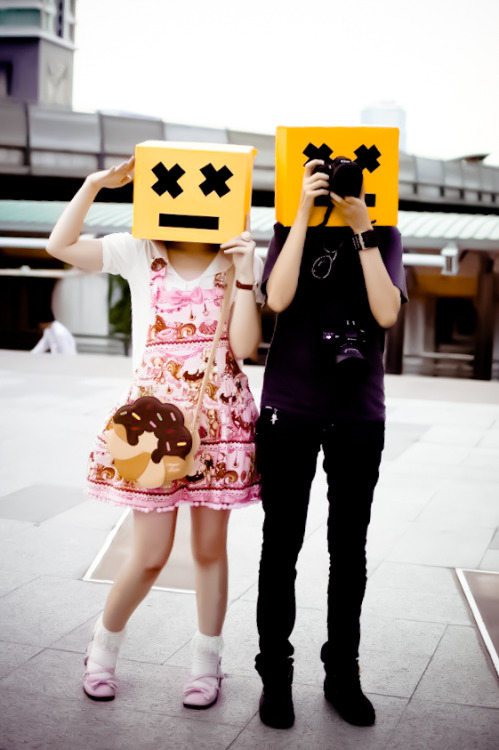 We're the SMILE tourists XD   noblechaos:  In anticipation of L'Arc~en~Ciel World Tour in Bangkok tomorrow. arthael in Angelic Pretty's Little Bear Cafe Salopette …. and me. XD