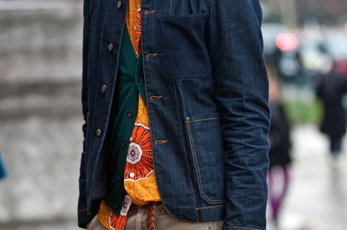 beyondfabric:  Superb mix of color and pattern - Dark green and orange never disappoints…