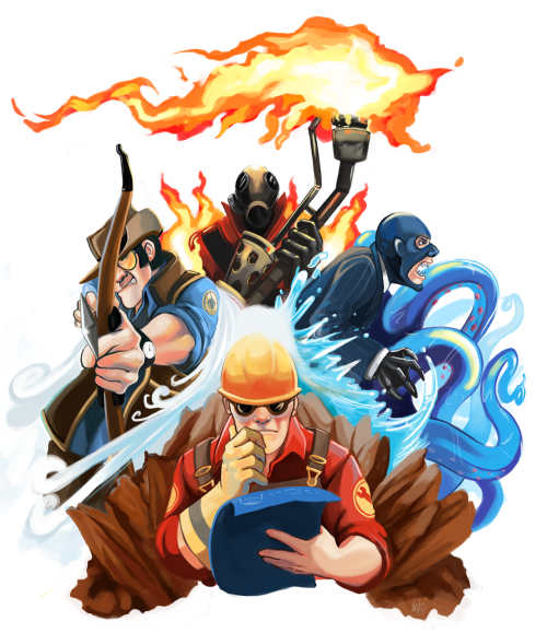 lildeadlymeesh:  TF2 Elementals ((Pyro: Fire, Tentaspy: Water, Engineer: Earth, Sniper: Air )) Commissioned by LadyRhianwriter