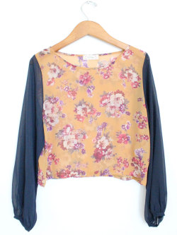 New Flower Print Long Sleeve Crop Top @ Mickey's Girl