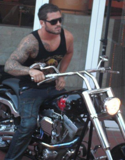 malegalore:  Tattooed man on his motorbike