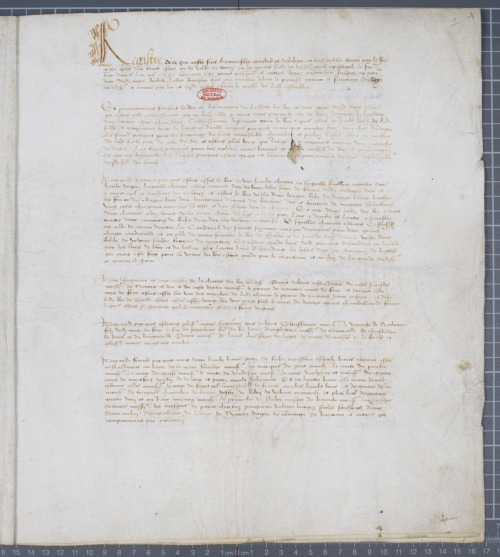 Procès-verbal des états-généraux tenus à Tours du 6 au 14 avril 1468 en présence du roi Louis XI. @credits  The general Estates called in by Louis XI refused to dismember Normandy for the brother's King, Charles of France, and decided the appanages would only procure a life annuity.