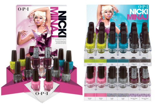 "Tips for your 'tips: Nicki Minaj for OPI           As some of you may know, Nicki Minaj recently did a line of Nail Lacquers for OPI and they are as flawless and outspoken as Miss Minaj herself. Titled after some of Nicki's tracks from her debut album, the line includes polishes like a ""Pink Friday"" (pink) polish, ""Save Me"" glitter polish, ""Fly"" bright teal polish, ""Super Bass"" purple shatter polish, ""Did It On 'Em"" Sublime lime polish and a ""Metallic (Moment) 4 Life"" Silver polish."
