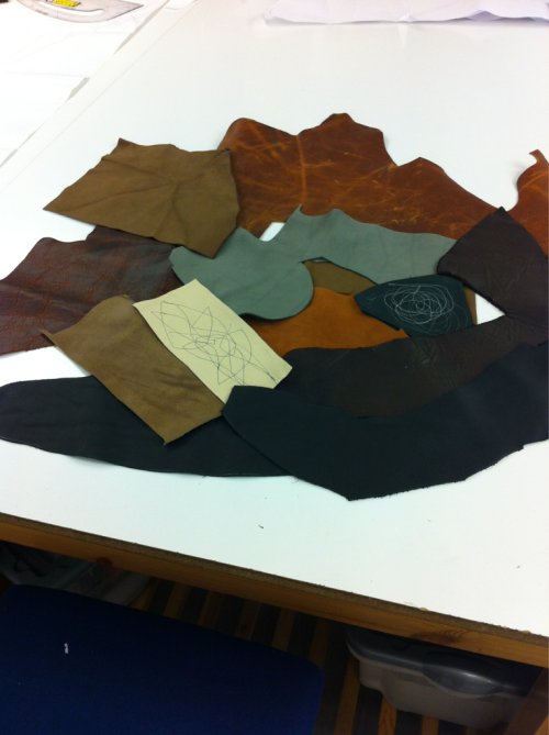 A few leather samples I've collected for my brand piece. Although it was leather used for shoe making it was perfect for sampling. I'm currently looking towards the soft gray colour more then my starting choice of a dark tan colour…more pictures to follow!