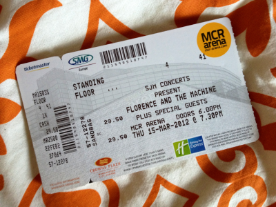 concert - my florence and the machine ticket just arrived! not long now!