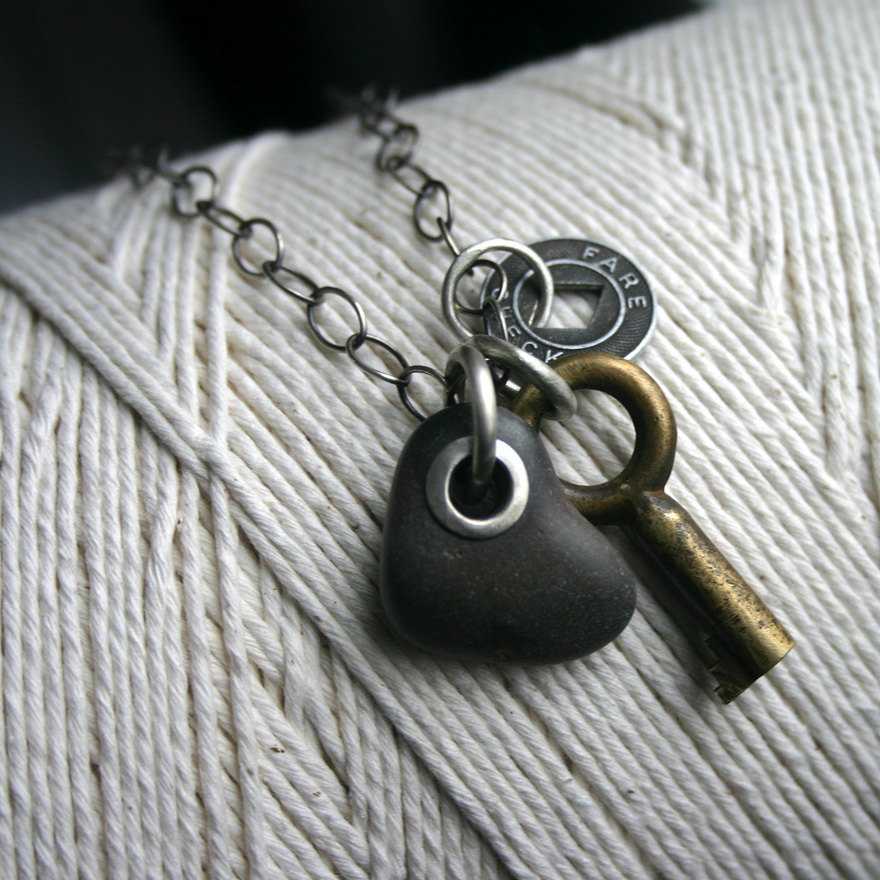 theforbiddencolors:  Heart Beach Stone Charm Necklace Key Token  by SToNZ