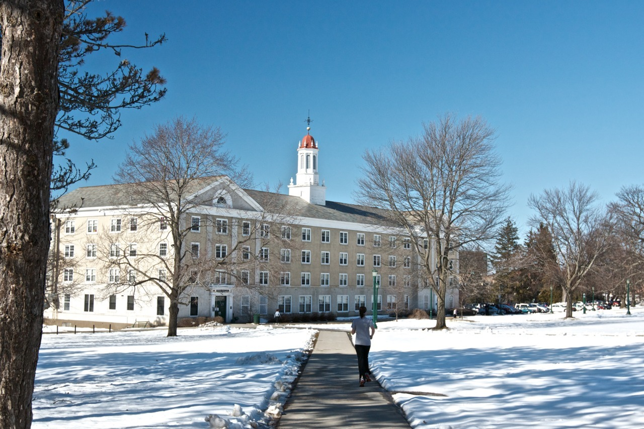 Out for a jog on a warm winter day. Union College, Schenectady, New York, United States