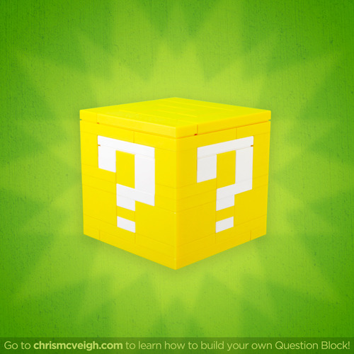 The Lego Question Block I built has proved to be very popular, and since it's quite small, I figured it would be a good build to offer as a Build-It-Yourself project! Cost direct from Lego.com is about $12, and instructions and part lists can be found at chrismcveigh.com.  Prints of this photo can be purchased at Society6.