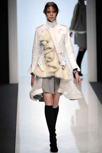 Sacai Fall RTW 2012 Paris Fashion Week  Tokyo-based designer, Chitose Abe does an interesting collection of layering and melding different textures and fabrics.