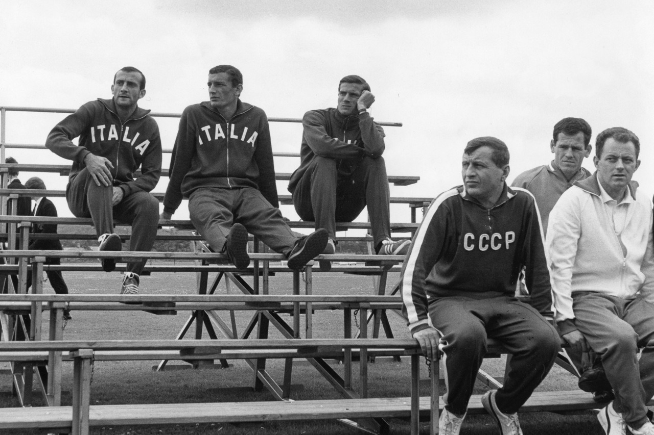 Lodetti, Riva and Facchetti, watching the USSR train at World Cup 1966.