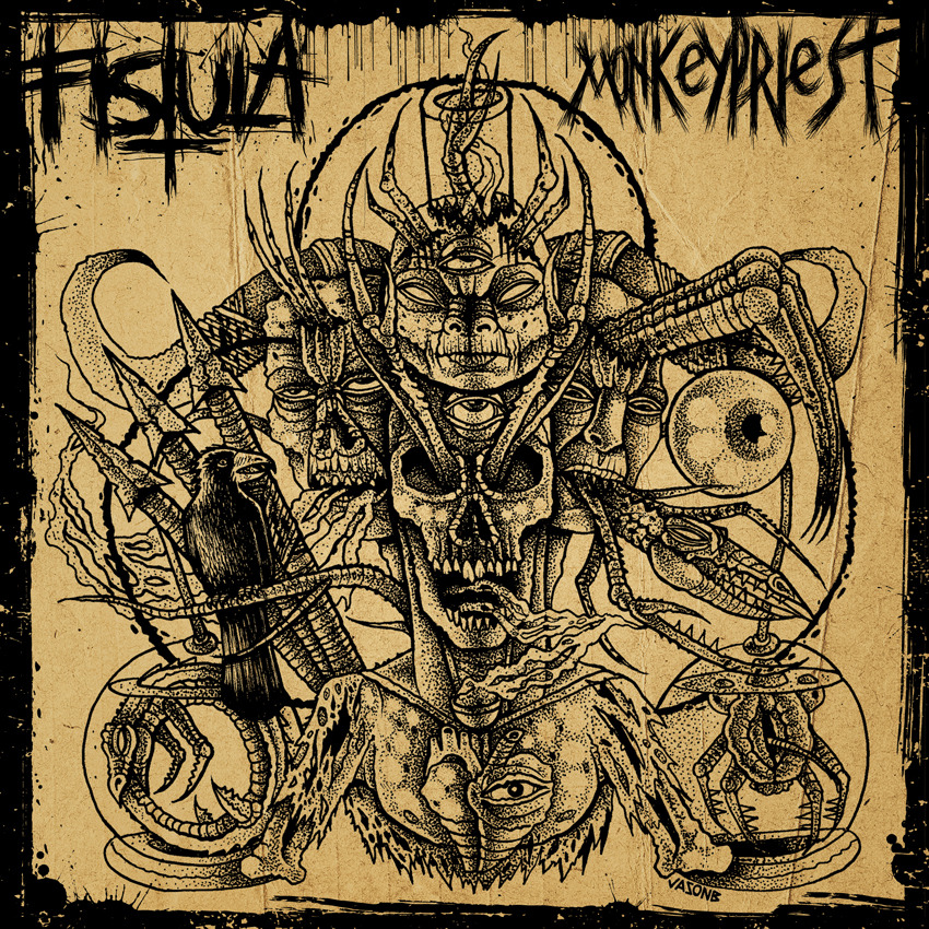"Art for Fistula/ Monkeypriest split 7"" coming out on Féretro Records from Spain Limited to 300 copies, silk screened covers"