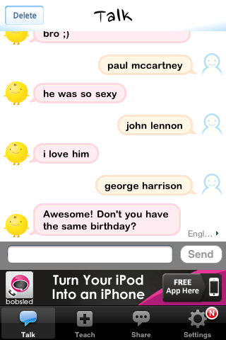 Been fooling around with this SimSimi app for a while and it never fails to give me the creeps. FACT: George Harrison and I share the same birthday if one will follow the premise that he was born on the 24th of Feb. Link (Read the Trivia section) More