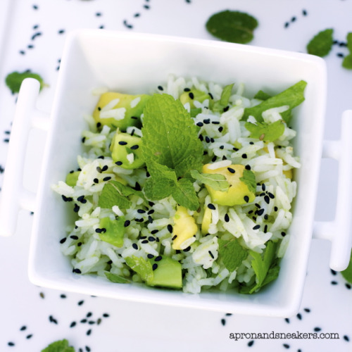 jasmine rice with avocado, mint and black sesame seeds from Apron & Sneakers