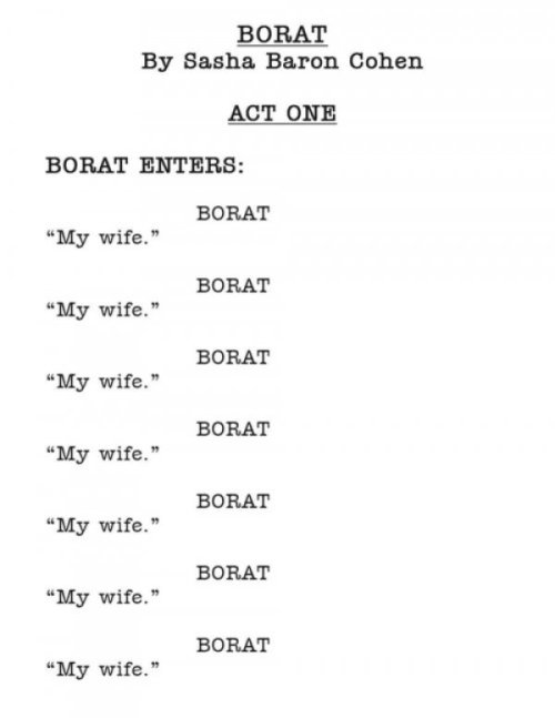 Leaked Borat Script If you knew who his wife was, you'd understand.