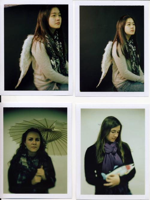 Some polaroids from last week. I also took film of these pictures, a little modified. As you can tell I was doing portraiture, using props. It was fun to compose an image with a random person and a random object. I was hoping my models would choose their props and body positioning but for the most part I was the one doing this. I don't mind, it's fun to compose a shot. However, I really want to get them more involved in the photo. I don't want to photograph faces, I want to photograph personalities.