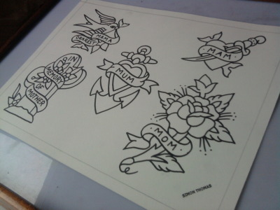 Here's the linework for that Mothers Day flash set… thankyou x