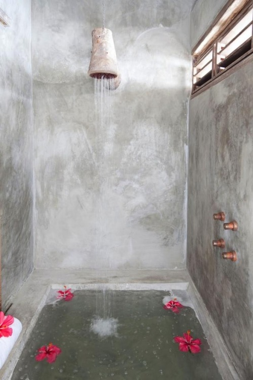 burnt-yellow:  Casa Lola, Brazil - 'The shower in the guest cottage has a wooden shower head made from a fallen tree, and copper faucet knobs made by local artisans.'