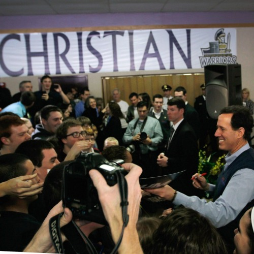 "What's it like to attend the same church as Rick Santorum? ""Rick Santorum's Catholic faith is an obvious centerpiece of his campaign for the GOP presidential nomination, and it is rare for him to speak without referencing his religious beliefs. It is also rare, however, to hear him speak about his particular church, St. Catherine of Siena, which he and his family have belonged to for at least a decade. Even his 2005 manifesto on his personal faith and politics, It Takes a Family, did not mention the church. I was curious to learn more about it, so last Friday morning, I attended a 9 a.m. Mass there.""- Molly Redden, Rick Santorum's Virginia Church and Opus Dei"