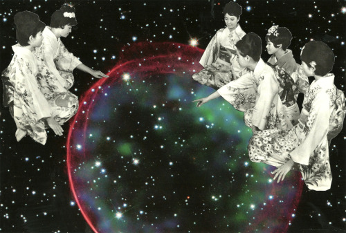 """ Star Gazers "" - collage on paper"