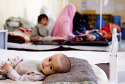 doctorswithoutborders:  Afghanistan: MSF Opens Maternity Hospital in Khost The international medical humanitarian organization MSF has opened a new maternity hospital in eastern Khost Province in Afghanistan, which will provide pregnant women in the region with desperately needed high-quality health care. Decades of conflict have left Afghanistan with maternal and child mortality rates among the highest in the world. Most women, especially in rural areas, must resort to giving birth without skilled assistance and in unhealthy conditions, which puts their own lives and those of their children at significant risk. Khost is one of Afghanistan's most volatile provinces, where national and international military forces have engaged in intense fighting with armed opposition groups in recent years. The conflict has affected the ability of women to access adequate maternal health care.Photo: Afghanistan 2011 © Peter Casaer A child with diarrhea in the pediatric department at Boost Hospital in Helmand Province, where MSF has been working since 2009.
