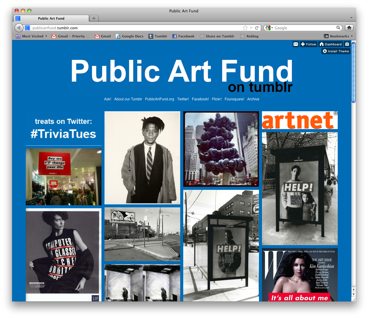 Public Art Fund uses Tumblr to host a conversation about public art at large, as well as document the interactions of their own pieces around New York City.