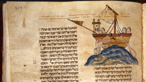 yama-bato:  Detail of folio 304r, with Jonah and the Whale, from the Cervera Bible, illuminated by Joseph the Frenchman, Spain, 1299–1300. Tempera, gold, and ink on parchment. Biblioteca Nacional de Portugal, Lisbon (BNP, IL.72)  Detail of folio 147r (left) and folio 318v (right) http://www.metmuseum.org/about-the-museum/now-at-the-met/features/2012/lisbon-hebrew-bible  http://www.antiquesandauctionnews.net/Article+Display/Lisbon%60s+Hebrew+Bible+-+Medieval+Jewish+Art+In+Context/