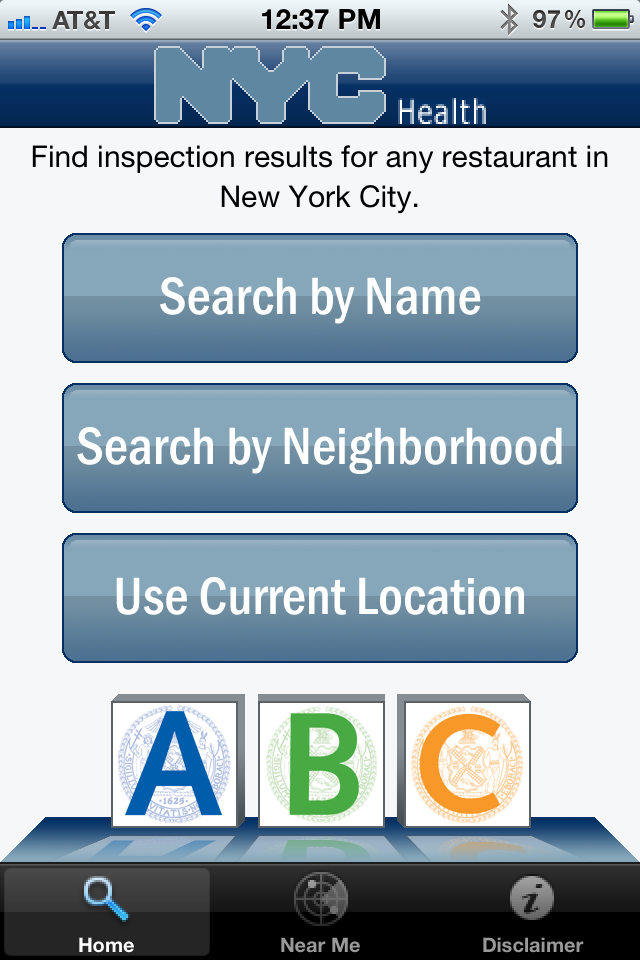 "Check out this free iPhone app, created with NYC OpenData. nycgov:  In July 2010, we started giving letter grades to all 24,000 of our city's restaurants, delis and other eating establishments. These grades let customers know about the results of the Health Department's periodic check-ups on sanitary conditions. Today, we released the first major study of how the system has worked, and there are four major findings – all of them great news for New Yorkers:  1)  Kitchens across the city are cleaner.  As of the end of January, a record 72% of restaurants were posting ""A"" grades in their windows.  2)  New Yorkers overwhelmingly approve of posting the grades – by 91%, according to a Baruch College survey – and use it to make decisions about where to dine out.   3)  Business is booming; restaurant revenues increased 9.3% during the first nine months of the program, compared to just 2.7% in the previous year. It just may be that clean kitchens are as good for business as clean air that is smoke-free.  4)  Here is the most encouraging sign of all: Over the past year, the number of cases of salmonella infection – the best marker for foodborne illnesses – has dropped to a 20-year low. No wonder New Yorkers support restaurant grades!  The proof is in the pudding – and more than ever, the pudding is being prepared according to the highest food safety standards. And now, with our brand new iPhone and iPad app finding a clean kitchen around town is as easy as ABC."