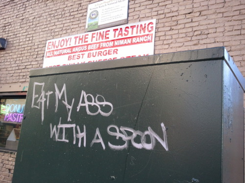 Enjoy! The fine tasting… juxtapostion Saw this outside of Donut World on my walk to work this morning.
